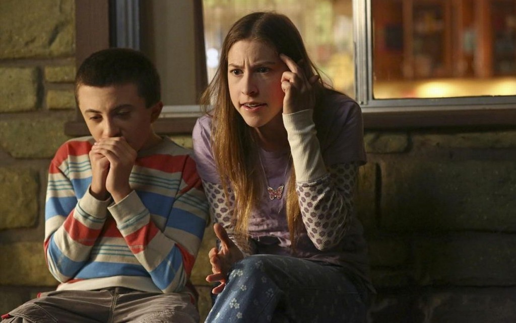 "Sue Heck and her younger brother Brick (*whisper* younger brother Brick!) on ""The Middle."""