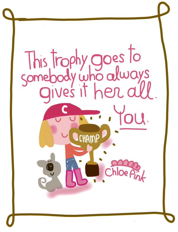 Trophy Illustration by Chloe Pink | Trophy Central Show Us Your Sue award nominee
