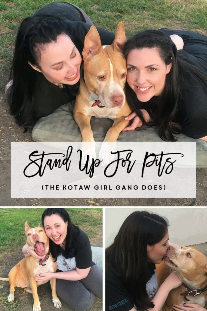 KOTAW Girl Gang members Bri Prooker and Kelsey Prooker stand up for pits with Ivy their rescue Pit Bull and KOTAW's Brand Ambassador