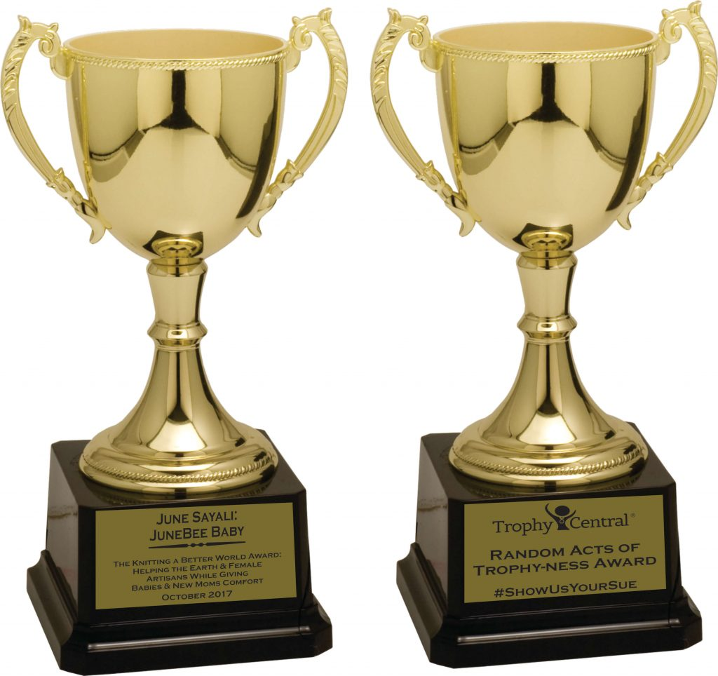 Awarding kindness with custom engraved trophies - Winner JuneBee Baby