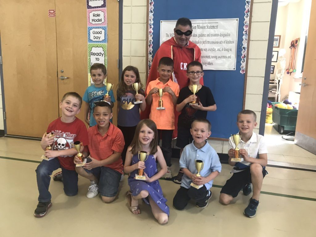 Students with Kindness Trophies Trophy Central