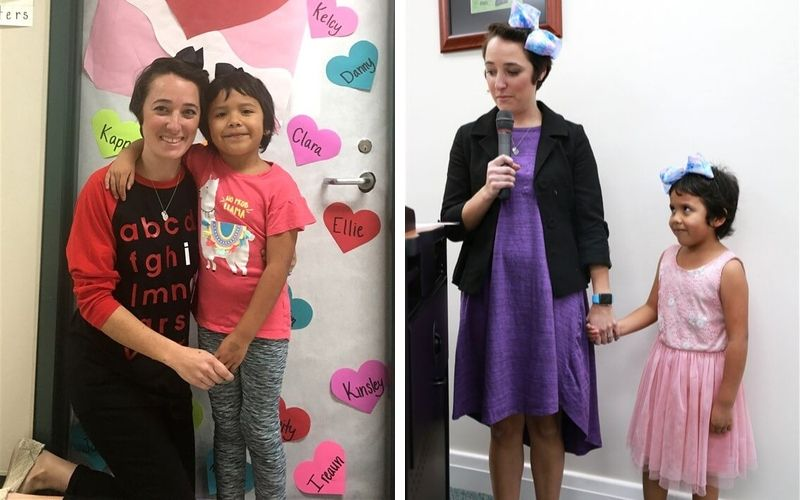 Short hair, don't care! Shannon Grimm teaches her students a lesson in kindness.