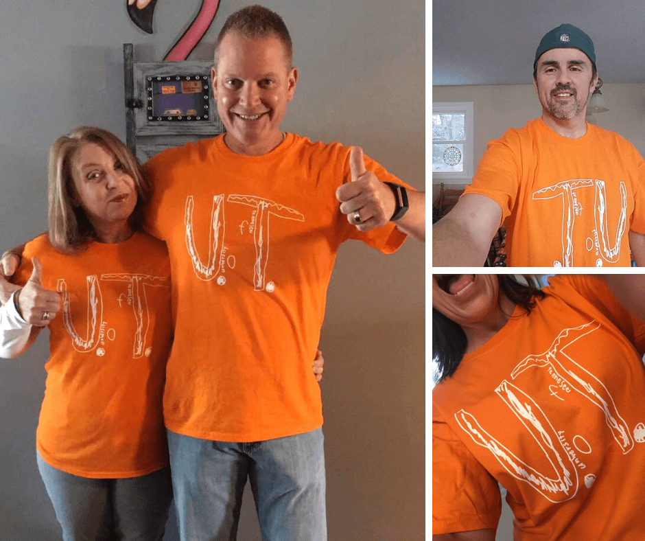 Awesome humans rocking University of Tennessee tee designed by bullied student.