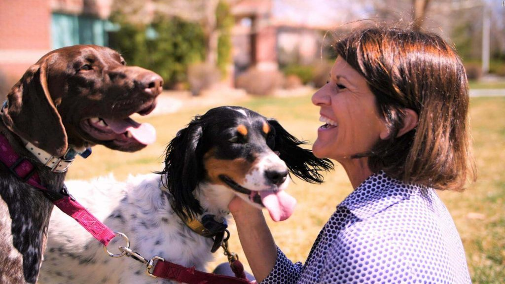 Staci Alonso with rescue dogs.
